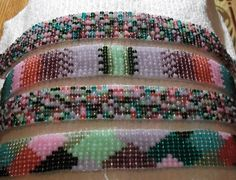 These browbands are made from tourmaline glass bead mixes, scrambled and unscrambled by me!  They are available on Etsy now.