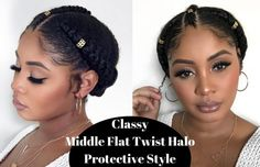 Quick Natural Hair Protective Style Flat Twist Halo Updo w Middle Twist Suggested Videos Black Hair Hairstyles, Lazy Hairstyles, Twist Hairstyles, Short Haircuts, Wedding Hairstyles, American Hairstyles, Hairstyles 2016, Medium Hairstyles, Formal Hairstyles