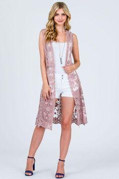 0ec7dcd3667 Blush Lace Sleeveless Kimono Vest from Divine Couture Boutique Lace  Cardigan, Lace Vest, Lace