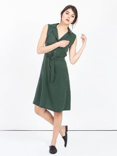 SALE dark green dress - green cocktail dress - shirt dress - midi dress - business casual dresses - sleeveless dress - summer dress