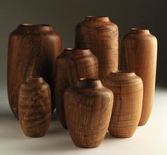 Group of Hand-Turned Flame Quilted Maple Vases