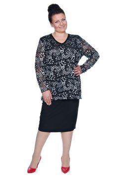 Czarno-biała bluzka z koronki - Modne Duże Rozmiary