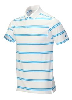b44e4c4a Moisture transport system on this mens stripe UPF golf polo shirt by Under  Armour wicks sweat away from the body to leave you dry and comfortable