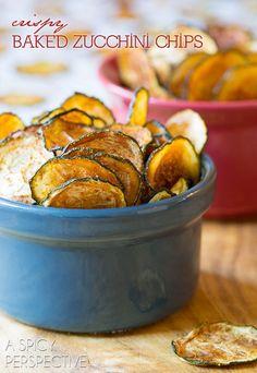 Crispy Baked Zucchini Chips #paleo