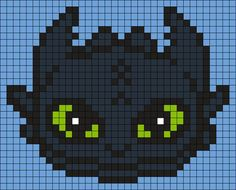Toothless From How To Train Your Dragon (Square) Perler Bead Pattern / Bead Spr. - Toothless From How To Train Your Dragon (Square) Perler Bead Pattern / Bead Sprite - Melty Bead Patterns, Perler Patterns, Pearler Bead Patterns, Beading Patterns, Kandi Patterns, Quilt Patterns, Perler Bead Art, Perler Beads, Fuse Beads
