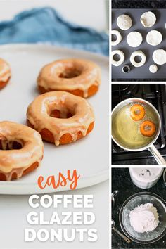 These easy donuts with a coffee glaze are made from a can of biscuits! They are fluffy, delicious, and a perfect combination of coffee and donuts. #coffeedonuts #coffeerecipes #donutrecipes #biscuitdonuts Kinds Of Desserts, Desserts To Make, Delicious Desserts, Yummy Food, Donut Recipes, Sweets Recipes, Coffee Recipes, Biscuit Donuts, Yeast Donuts