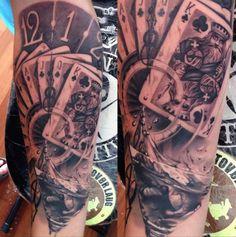 réaliste tatouage 3d jeux de carte sur avant bras