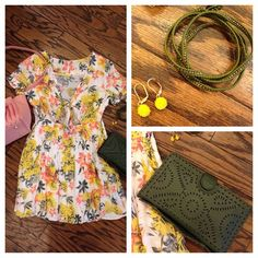 Still tons of fab items on sale and up for grabs in the CWE! Everything 50% off in store!! Like this fun Free People dress! Pair it with this cute pink Deux Lux cross body bag for day and our fave CLEOBELLA clutch for night! And top it off with a Chan Luu wrap bracelet and fun flower earrings!
