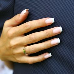 how to make classic french manicure, long nails square shape with small . - how to make classic french manicure, long nails square shape with small decorative flowers - Rounded Acrylic Nails, French Manicure Acrylic Nails, Nail Manicure, French Manicure Designs, Nail Design, Nail Polish, Short Fake Nails, Long Nails, Short French Nails