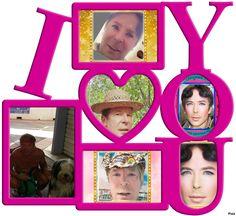 Cadre LOVE avec 6 photos Hommes Au Style Country, Montage Photo, 6 Photos, Templates, Love, Cadre Photo, Amor, Stencils, Vorlage