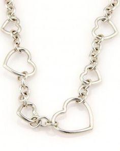 Tiffany Sterling Silver Heart Link Designer Necklace
