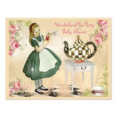 Vintage Alice in Wonderland Tea Party Baby Shower Invitation