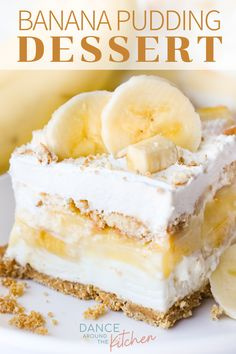 This cool and creamy Banana Pudding Dessert is simple to put together and 'oh so delicious! Make in a square pan or easily double for a dessert and get ready to be the talk Brownie Desserts, Banana Pudding Desserts, Banana Recipes, No Bake Desserts, Easy Desserts, Delicious Desserts, Cake Recipes, Yummy Food, Healthy Banana Pudding