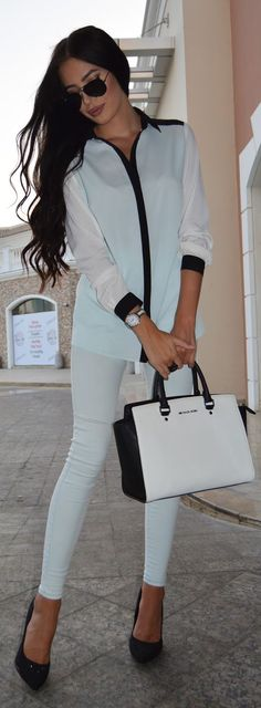 Blue Ice And White Outfit Idea