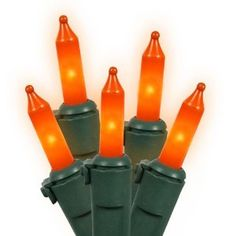Set of 100 Opaque Orange Mini Christmas Lights - Green Wire by Vickerman. $12.99. Set of 100 Christmas LightsItem #W4G1013Features:Color: opaque orange bulbs / green wireNumber of bulbs on string: 100Bulb size: miniSpacing between each bulb: 4 inchesLighted string length: 32 feetTotal string length: 33 feetAdditional Product Features:These lights are made to commercial specificationsIf one light goes out the rest will stay litLights are equipped with Lamp Lock featur...