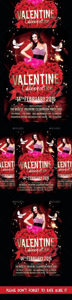 Valentine Day Celebration Party Flyer Template PSD #design Download: http://graphicriver.net/item/valentine-day-celebration-party-flyer/14339753?ref=ksioks