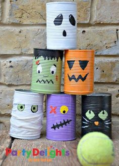 Super fun tin can bowling activity for kids this Halloween. Make this fun Halloween Craft with the kids. They are also great desk tidies and double up nicely as Halloween Pen Pots. kids crafts toddlers Super fun Tin Can Bowling Game Halloween Party Activities, Halloween Games For Kids, Kids Party Games, Halloween Decorations For Kids, Classroom Halloween Party, Fun Games, Halloween Birthday Parties, Craft Activities, Halloween Decorating Ideas