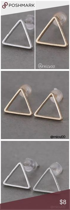 "🆕Modern Triangle Gold Silver Stud Earrings! 2016's Top Modern Retro Trend! Simply Shaped, Triangle stud Earrings, Available in Gold & Silver, Very Lightweight; Perfect for Everyday Simplicity!👌 Last pic shows all designs available!  - Nickel & Lead Free - For pierced ears-Post Back  ➖Prices Firm, Bundle for 20% Discount ➖""Trade"" & Lowball Offers will be ignored ➖Sales are Final, Please read Description & Ask Any Questions! Boutique Jewelry Earrings"