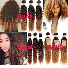 "3Bundles16""18""20"" 3Tone Ombre Human Hair Extension Afro Curly Wave 6A Hair Wefts #WIGISS #HairExtension"