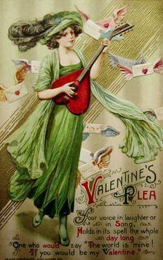 """Valentine's Plea"" ~ Art Nouveau postcard by Samuel Schmucker, 1911"