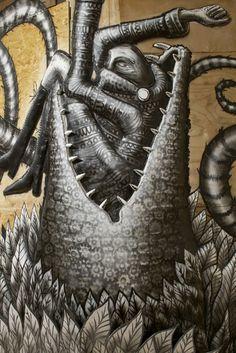 Graffiti depicting gangly imaginary creatures by street artist Phlegm is currently on show at an east London gallery. Weird Art, Street Art Graffiti, East London, Street Artists, Public Art, Fantasy Creatures, Art Blog, Lovers Art, Illustrators