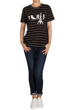 Hipsteration Womens Short Sleeve Striped Paris Tee Shirts Black, M