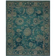 "Nourison 2020 NR202 5'3"" x 7'5\"" Area Rug ($404) ❤ liked on Polyvore featuring home, rugs, teal, nourison rugs, floral rug, teal blue rug, persian rugs and persian style rugs"