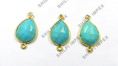 5 PCS LOT Synthetic Turquoise gemstone 925 silver women charm connector jewelry
