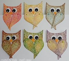 owl bookmarks made from memory box die-cute!