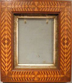 c.1880 antique folk art geometric marquetry primitive frame - fits 7 x 9 inch
