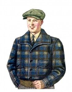 1920s Mens Jacket- The mackinaw is a double breasted half coat made of a very thick wool horse blanket material. Plaids of dark blue, brown, olive, and black w...