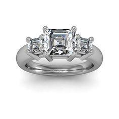 0.80 ct 3-Stone with Asscher Sidestones Engagement Diamond Ring    #asschercutdiamond #asscher #asschercutengagementring #threestone $1361