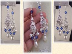 New Swarovski Sapphire Crystal/White Pearl Flower Silverplate Vintage Filigree Chandelier Earrings-Bridal Collection