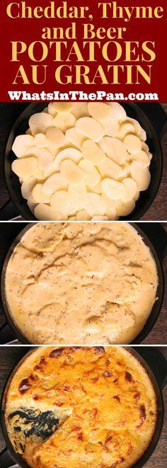 Cheddar, Thyme, and Beer Potatoes Au Gratin #potatoes #Christmas #holidays #sides