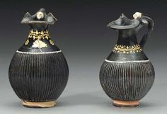 TWO APULIAN GNATHIAN-WARE TREFOIL OINOCHOAI (SHAPE 3) CIRCA 340-330 B.C.