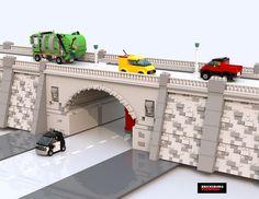 Lego Bridge, Lego Minifigure Display, Lego Wall, Lego Boards, Lego Club, Amazing Lego Creations, Lego Trains, Lego Modular, Lego Construction