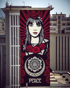"""Shepard Fairy aka Obey, """"Rose Girl"""" for Grenoblestreetartfest 2019 in Grenoble, France, 2019 Graffiti Art, Graffiti Tagging, Street Wall Art, Murals Street Art, Tag Art, Shepard Fairey Art, Shepard Fairy, Photographie Street Art, Art Français"""