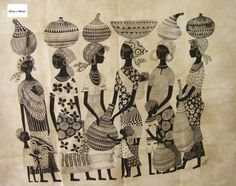 Pinturas Africanas a Blanco y negro - Tati Gon - Álbumes web de Picasa African Paintings, Africa Art, Traditional Paintings, Textiles, Aboriginal Art, Tribal Art, Figure Painting, Line Art, Watercolor Art