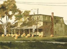 Jamie Wyeth, Chadds Ford Inn Pumpkin Carve, mixed media on paper laid down on board