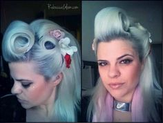 Pinup Beauty: soft blue hair with rolls. Dread Hairstyles, Retro Hairstyles, Everyday Hairstyles, Pin Up Hair, Love Hair, Updo Styles, Curly Hair Styles, Greaser Hair, Roll Hairstyle