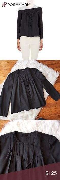 Isabel Marant Pleyel Silk Blouse Gorgeous rare Isabel Marant black Pleyel blouse featuring buttoned cuffs and ruffle detail. Button fastenings through front!  Size: 4  100% silk  *flaw to note - inside materials tag is slightly worn and print is not all visible Isabel Marant Tops Blouses