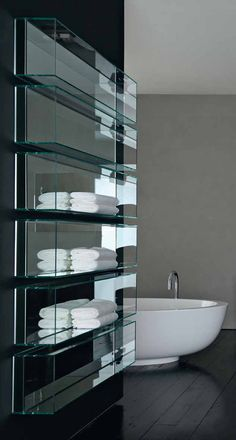 Clean and sleek bathroom glass storage, Shy light & cubo by Rifra design idea inspiration decor Chic Bathrooms, Modern Bathroom, Masculine Bathroom, Guest Bathrooms, Bathroom Storage, Bathroom Interior, Glass Shelves In Bathroom, Design Bathroom, Decoration Ikea