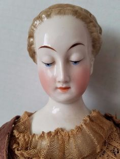 "18"" antique nymphenburg china head & hands, cloth & wire cage body, orig gown China Dolls, Painted Ladies, Bisque Doll, Hello Dolly, Doll Stuff, Woman Painting, Doll Face, Antique Dolls, Cage"