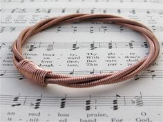 Recycled PIANO String Bracelet copper colored by foxdesignsjewelry, $47.00