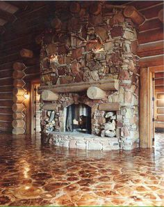 Massive fireplace and wood floor!