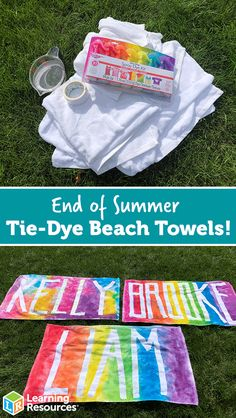 End of Summer Tie-Dye Beach Towels Let's create tie-dye beach towels, incorporating conversations about the color wheel, rainbow order, mixing, and pigment strength! Cute Crafts, Crafts To Do, Diy Crafts For Kids, Projects For Kids, Craft Projects, Diy Tie Dye Projects, Craft Ideas, Jar Crafts, Diy Crafts Summer