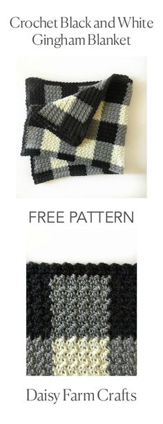 Crochet Afghan Patterns FREE PATTERN - Crochet Black and White Gingham Blanket - Who knew that making crochet look like a gingham pattern could be so simple? This crochet griddle stitch gingham blanket is simple once you learn to carry Crochet Home, Knit Or Crochet, Crochet Crafts, Crochet Projects, Crotchet, Crochet Ideas, Afghan Crochet Patterns, Crochet Stitches, Knitting Patterns