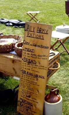 Civil War reenactors educate. Here, detailing army rations.