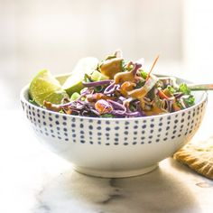This dressing is deliciously and spicy...and it's on top of kale, cabbage, and lots of goodies!