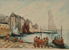 """Pierre ABADIE-LANDEL (1896-1972) """"Le port de Douarnenez"""""""